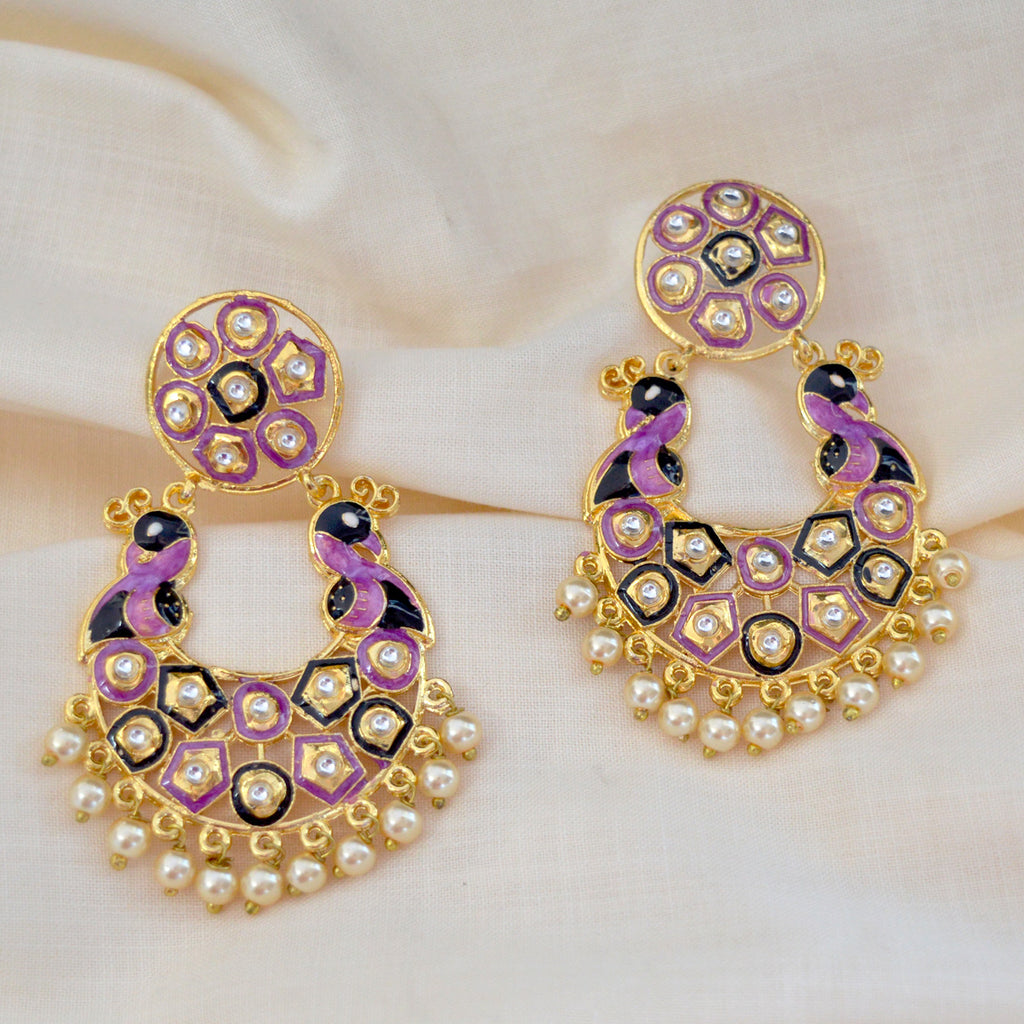 Mk Jewellers Voilet And Black Meenakari Circle Dual Peacock Kundan Dangler Earring-MK JEWELLERS1-Earring