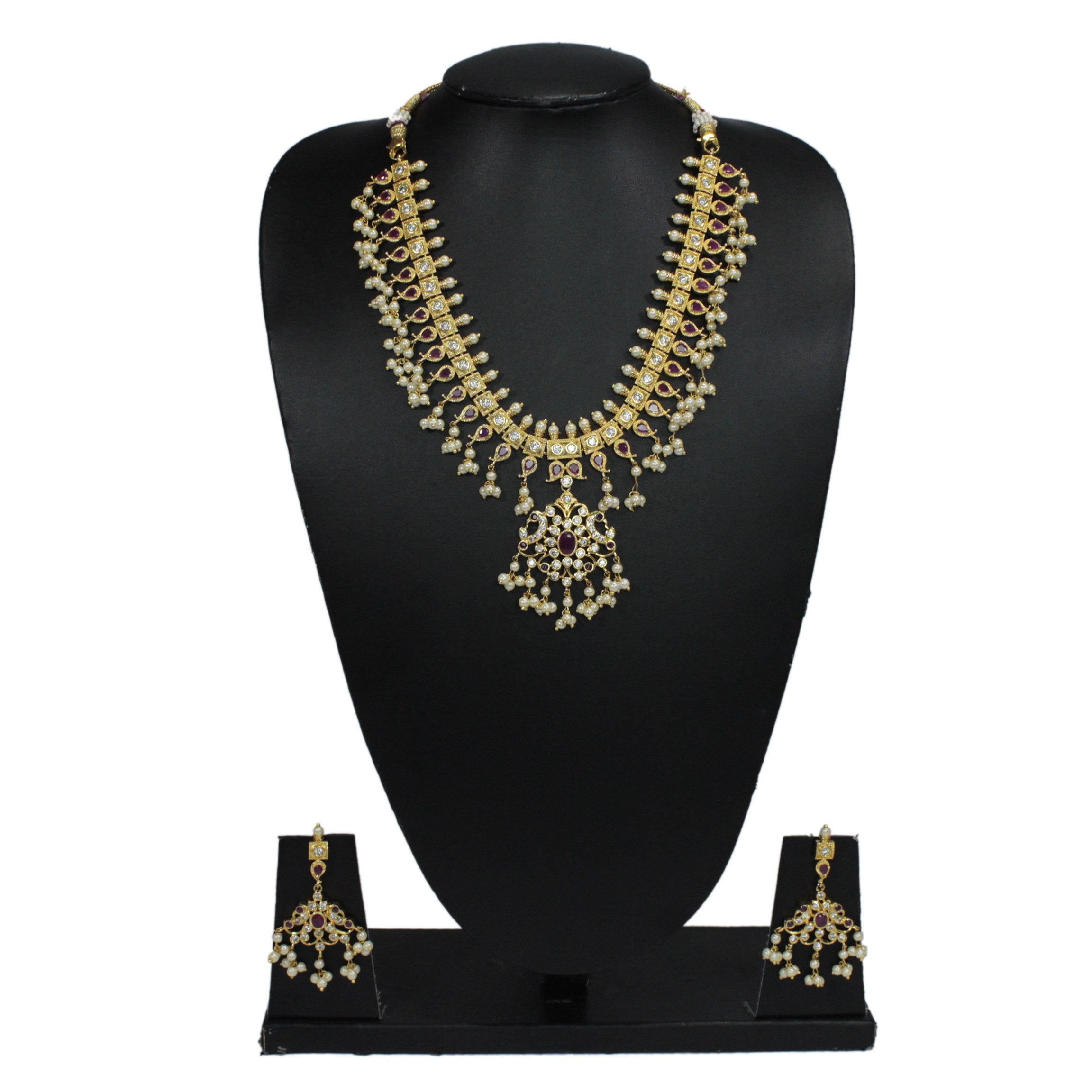 Gold Plated Peacock Design With Ruby Stones Guttapusalu Medium Length Necklace Set