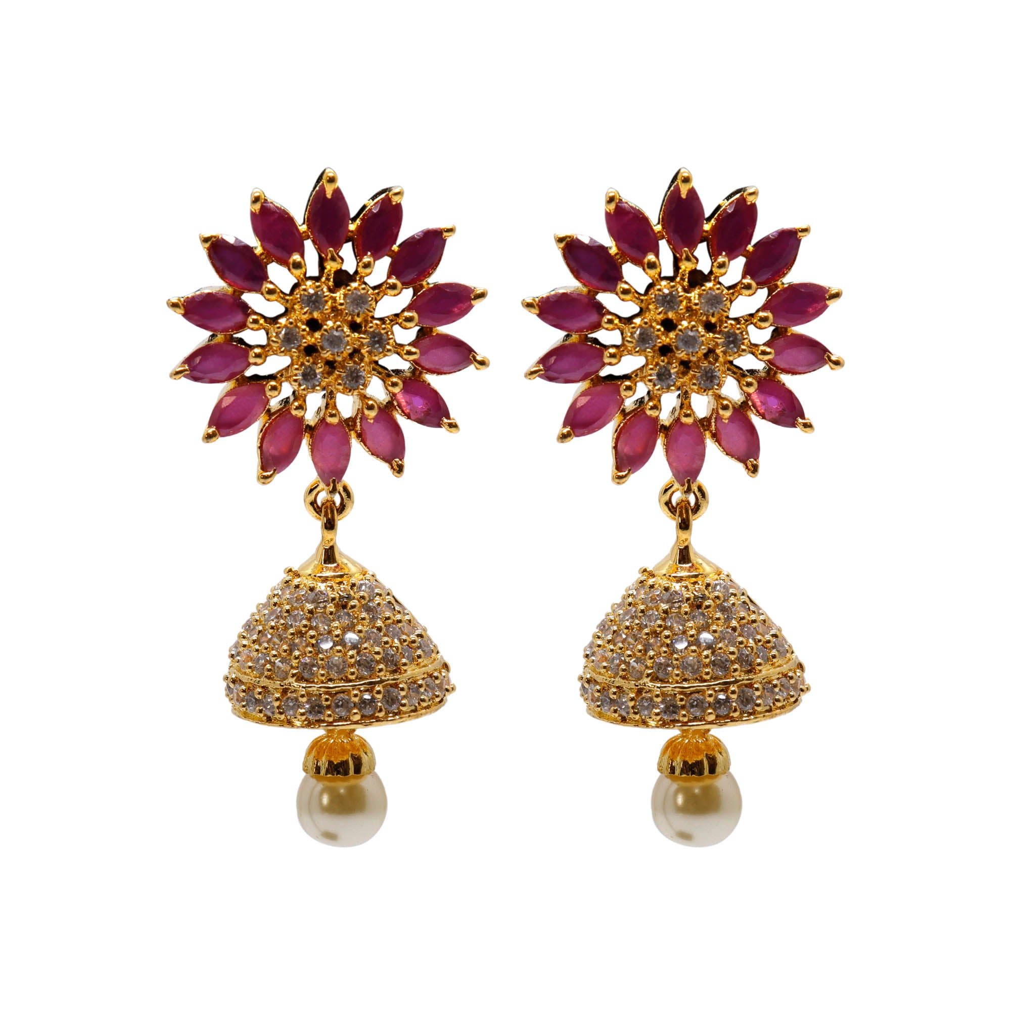 Ruby Red & White Color American Diamond Stones with Pearl dropping Stud Jhumka