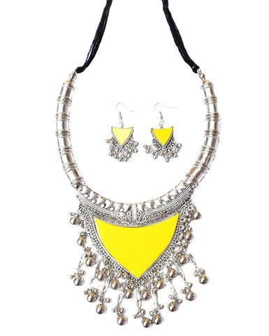 Oxidized Metal Navaratri Yellow Color Necklace Set