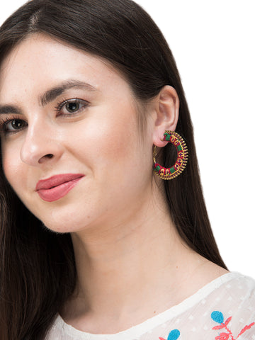 Purple Colour Embroidered Latch Hoop Earring