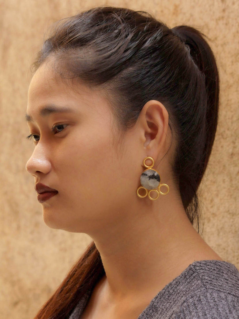 Avismaya Gold Plated Moonstone Designer Earrings-AVISMAYA-Earring