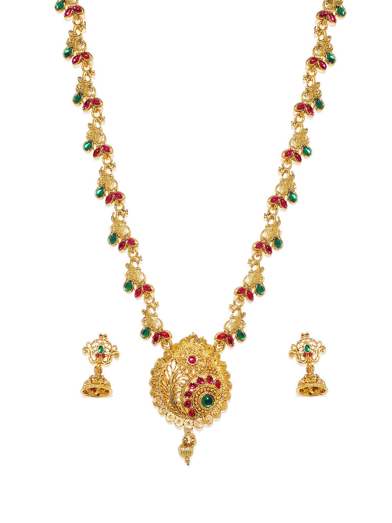 Zaveri Pearls Ethnic Gold Plated Opera Style Necklace Set-ZAVERI PEARLS1-Necklace Set