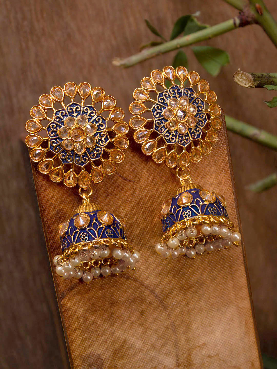 Avismaya Gold Plated Floral Design Blue Color Enamel Painted With Hanging Pearls Jhumka Earring-AVISMAYA-Earring