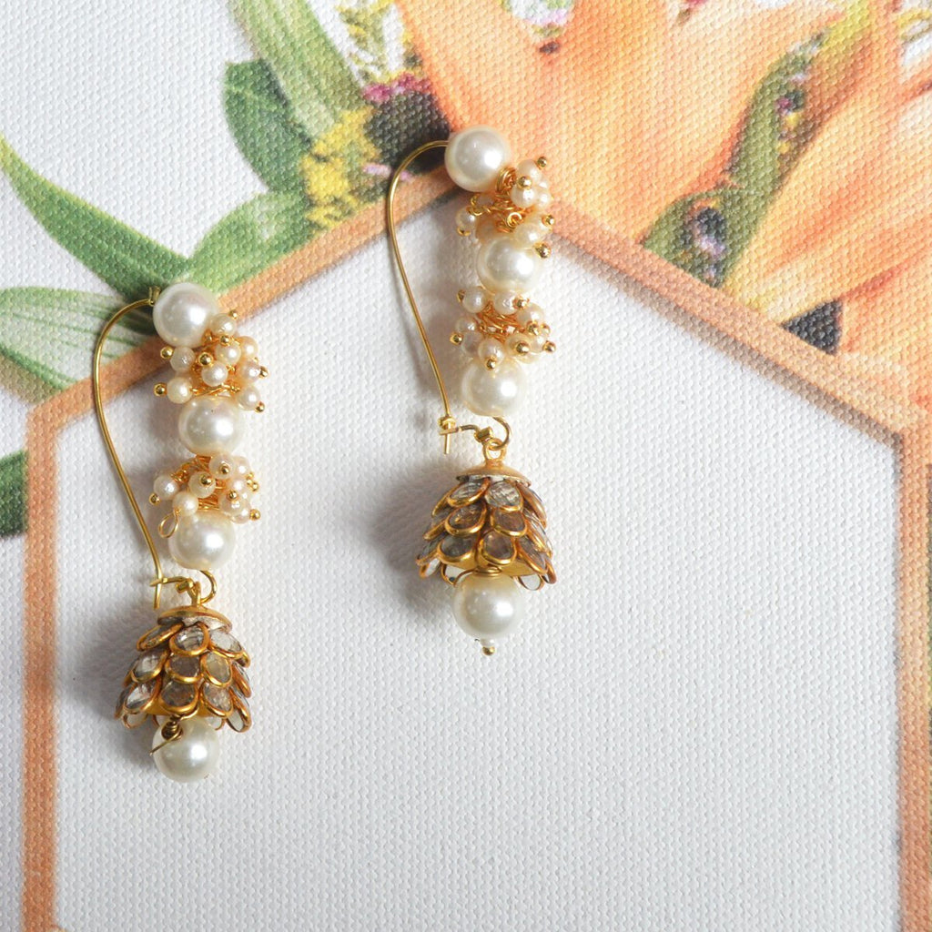 White Colour Pearl  Ethnic Loop with Pacchi Dome Earring