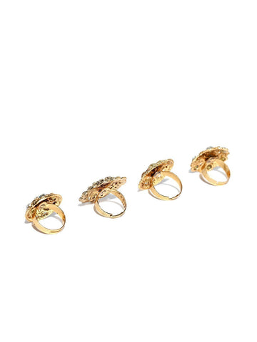 Zaveri Pearls Combo of 4 Gold Tone Ethnic Finger Rings
