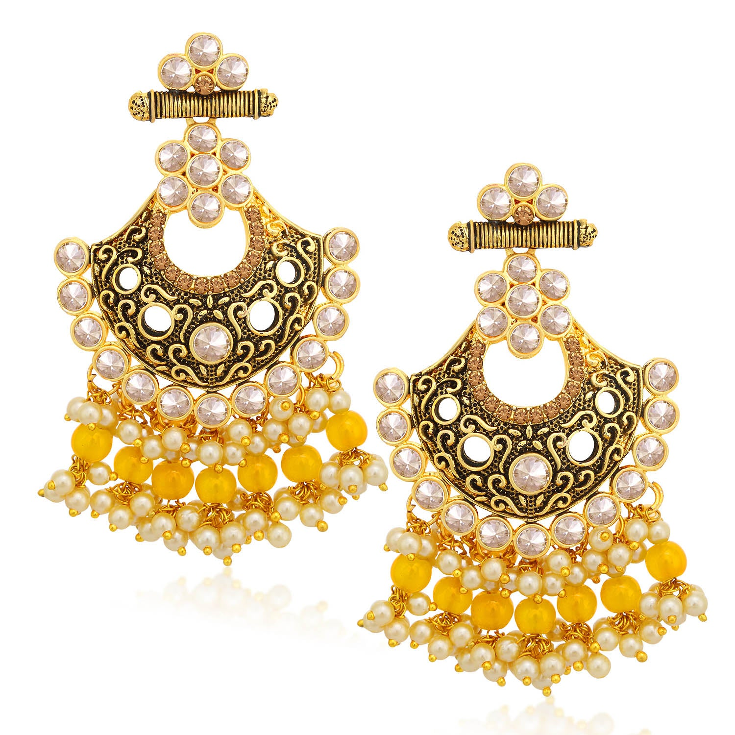 Sukkhi Glamorous LCT Stone Gold Plated Pearl Chandelier Earring For Women-SUKKHI1-Earring