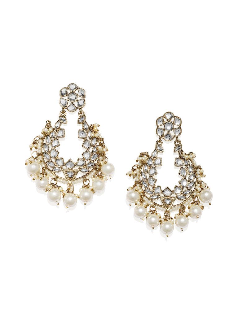 Zaveri Pearls Antique Gold Tone Kundan And Pearls Dangle Earring
