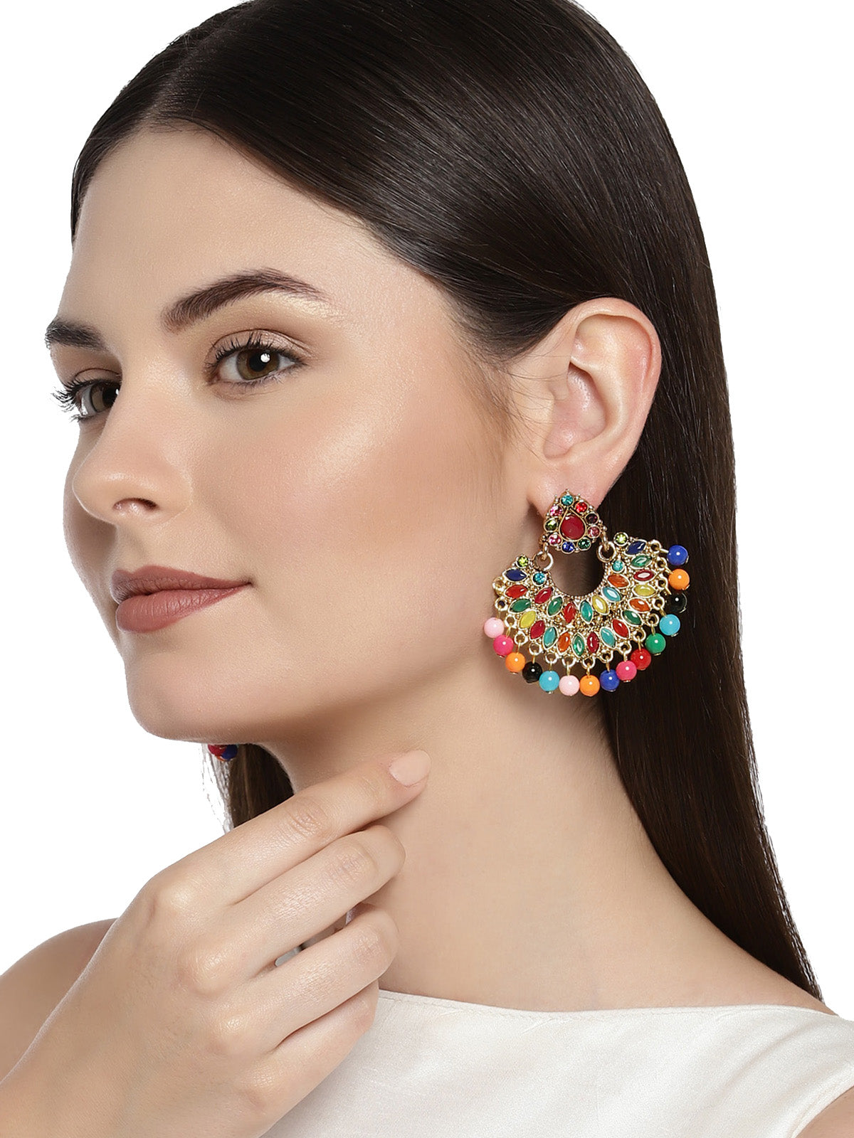 Combo Of 2 Zaveri Pearls Multicolor Dangle Earring
