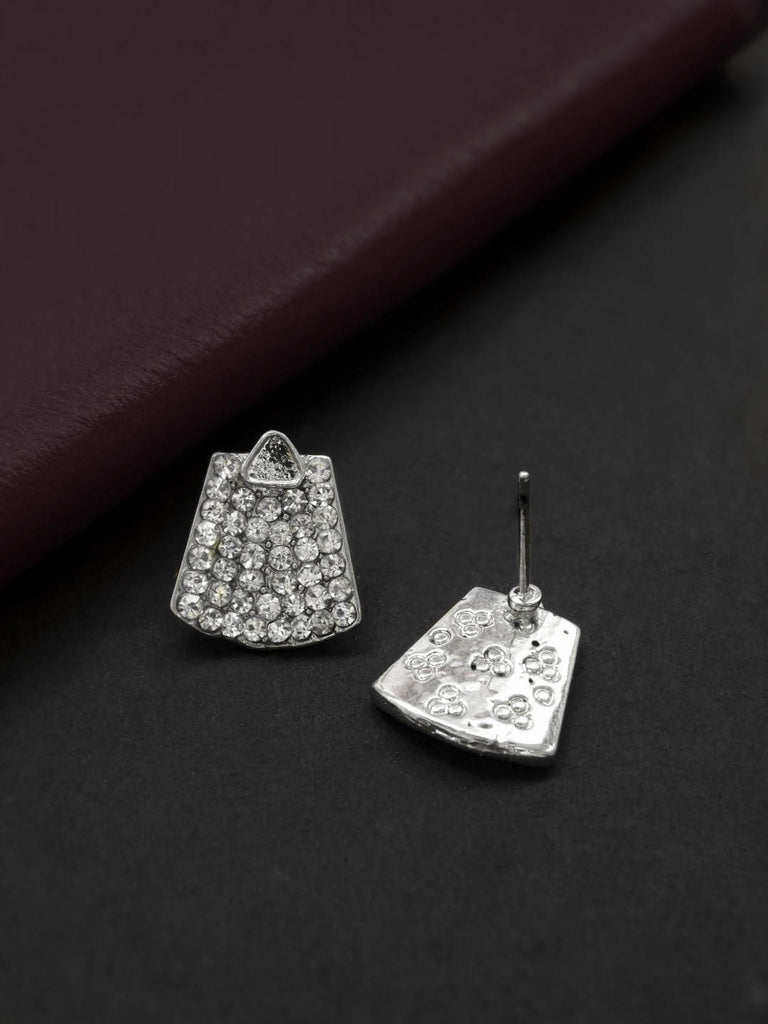 Silver Plated Geometric Design White Color Stud Earring By Aana-AANA-Earring