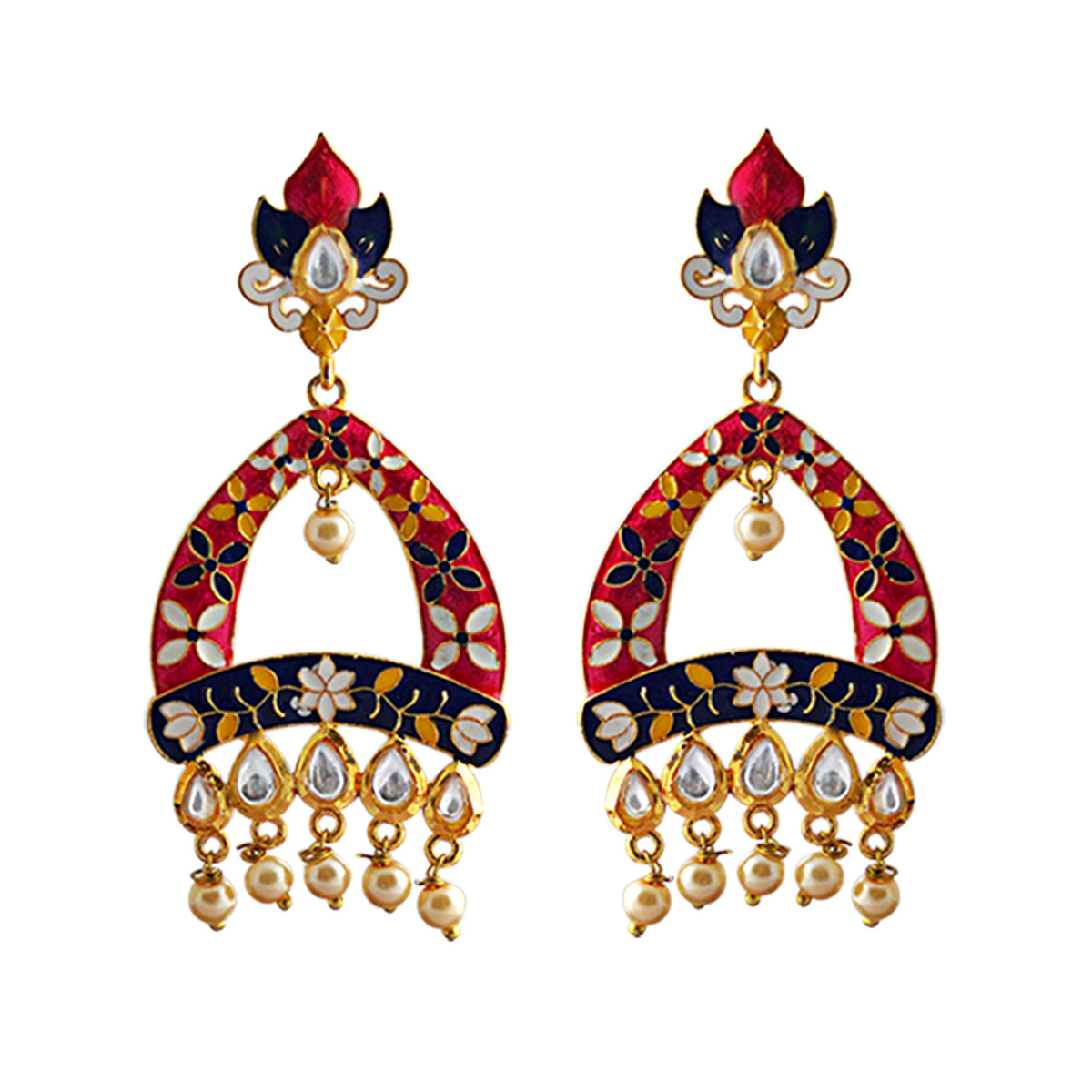 Mk Jewellers Red Color Meenakari Arched Design Kundan Dangler Earring-MK JEWELLERS1-Earring