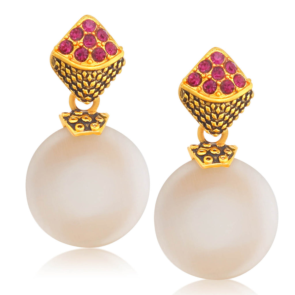 Sukkhi Trendy Gold Plated Pearl Dangle Earring For Women-SUKKHI1-Earring