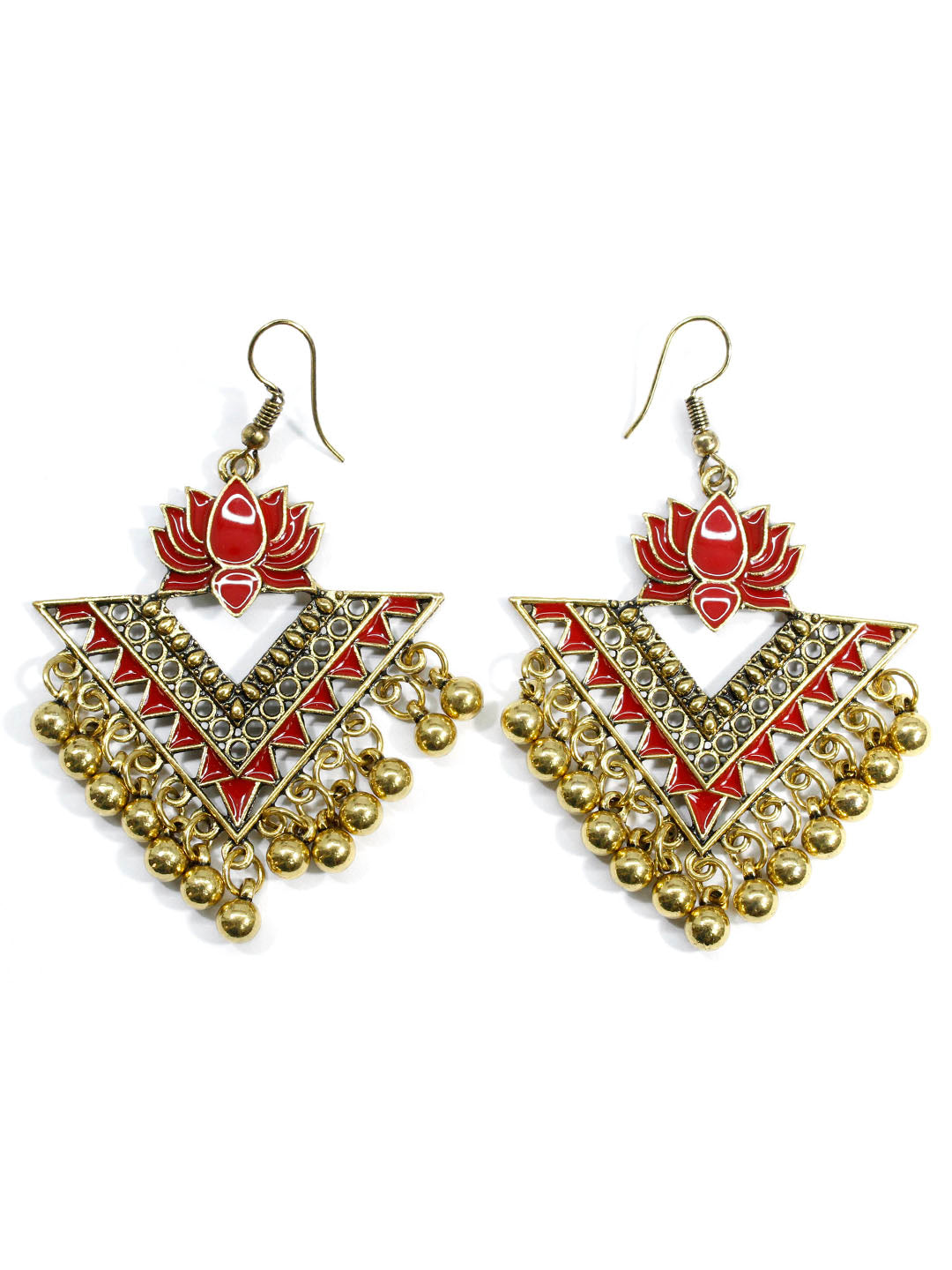 Aana Red Color Lotus Design Gold Plated Dangler Earring