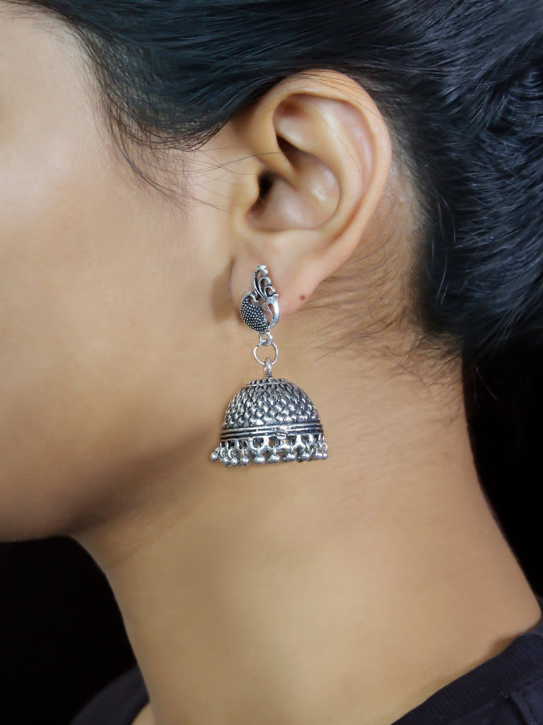 Oxidised German Silver Peacock Design Jhumka Earring-OXIDIZED-Earring