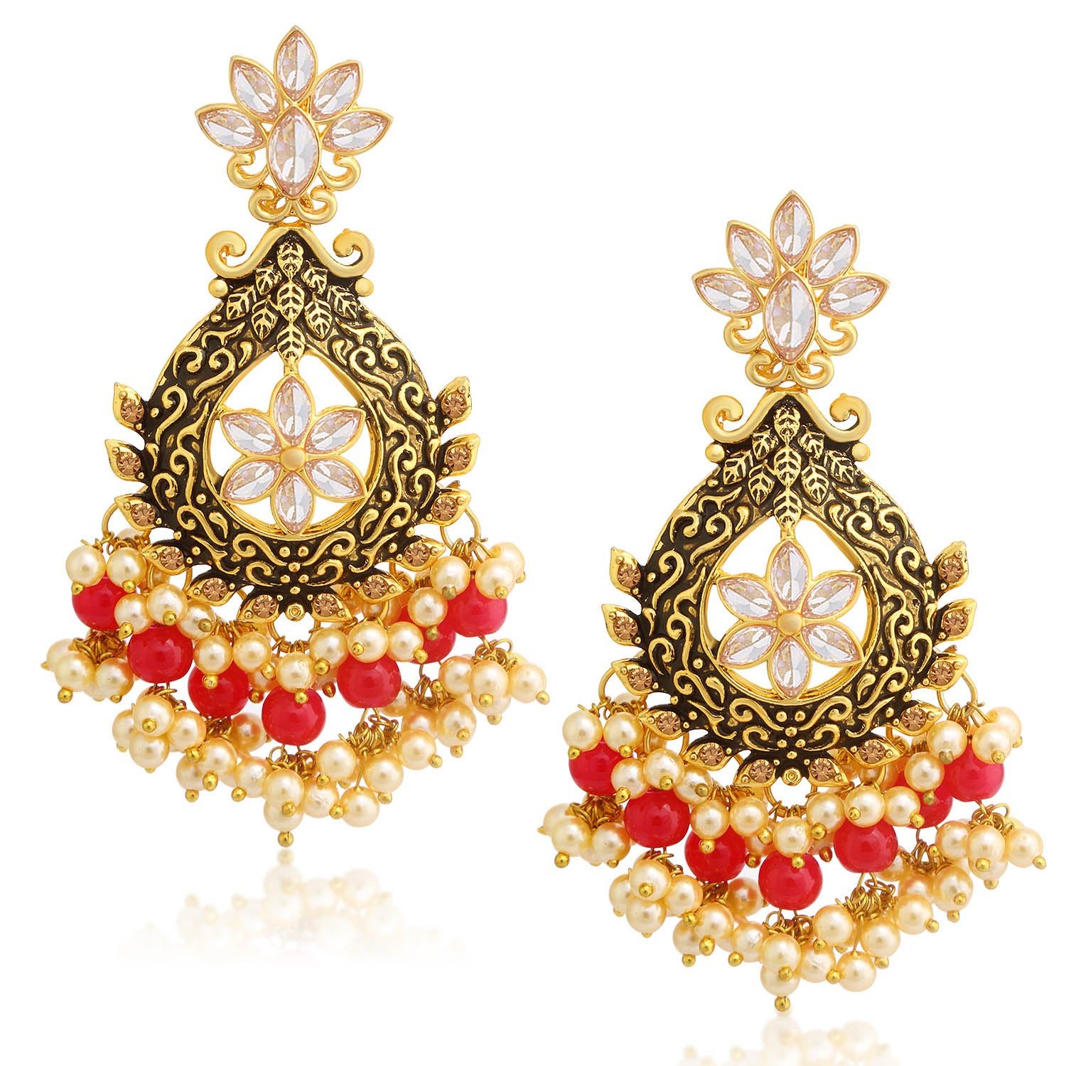 Sukkhi Glittery LCT Stone Gold Plated Floral Pearl Meenakari Chandelier Earring For Women-SUKKHI1-Earring