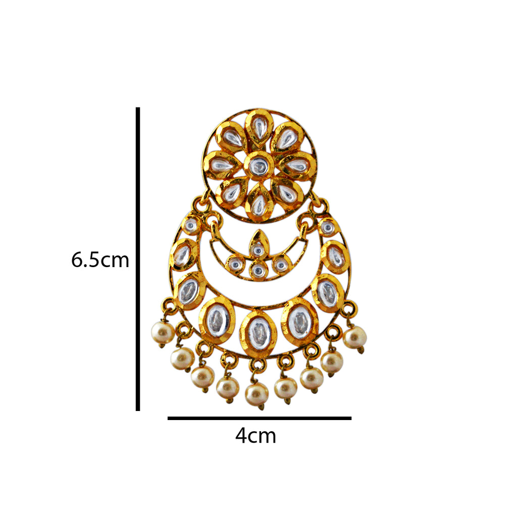 Gold Plated With Kundan Stone Double Layer Dangler Earrings-MK JEWELLERS1-Earring