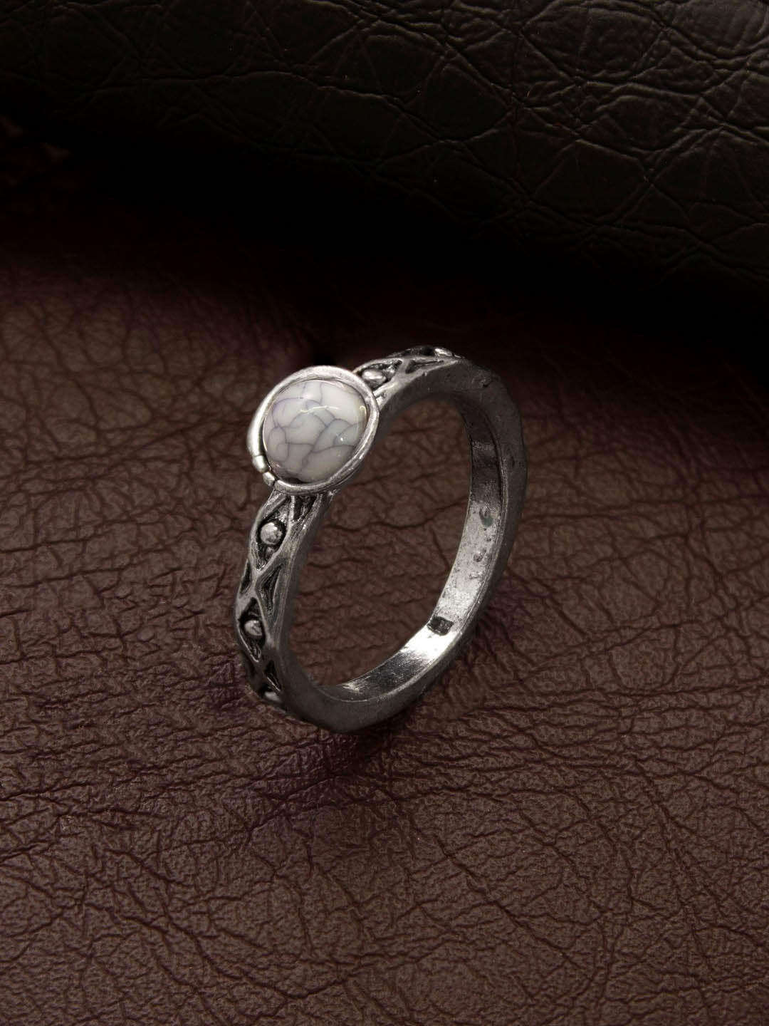 Aana Oxidised Silver Plated Geometric Design White Color Stone Finger Ring-AANA-Finger Ring