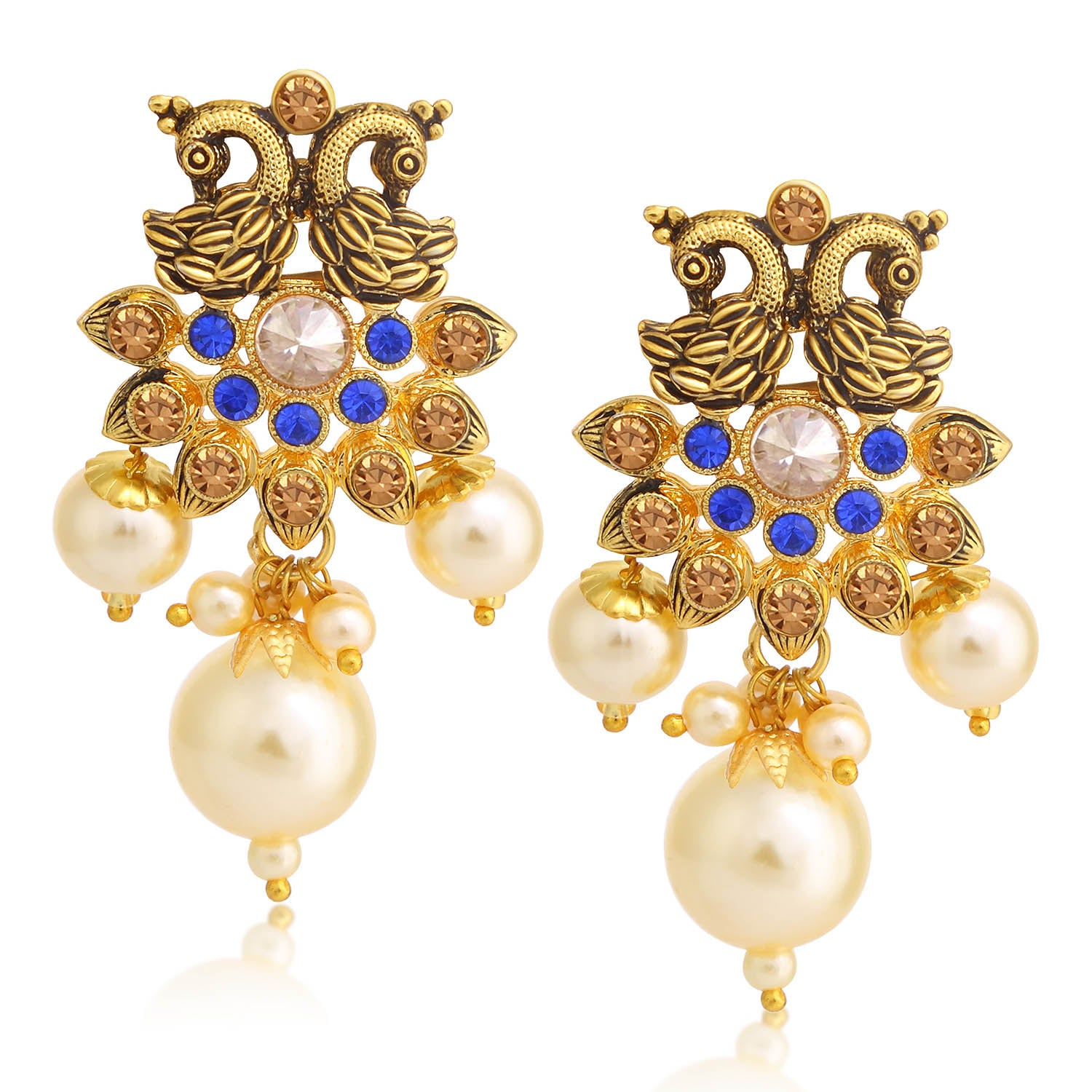 Sukkhi Stunning LCT Stone Gold Plated Pearl Peacock Dangle Earring For Women-SUKKHI1-Earring