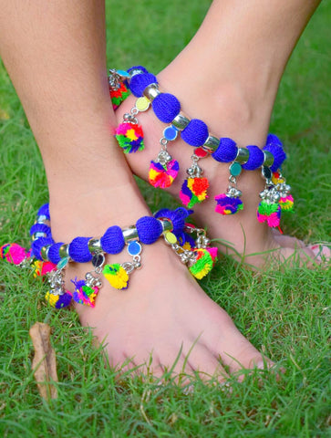 GiftPiper Blue Threaded Anklet with Pom Pom Tassels