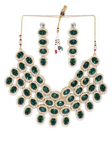 Zaveri Pearls Green Stones And Pearls Studded Traditional Choker Necklace Set