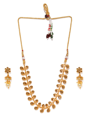 Zaveri Pearls Gold Tone Ethnic Choker Necklace Set