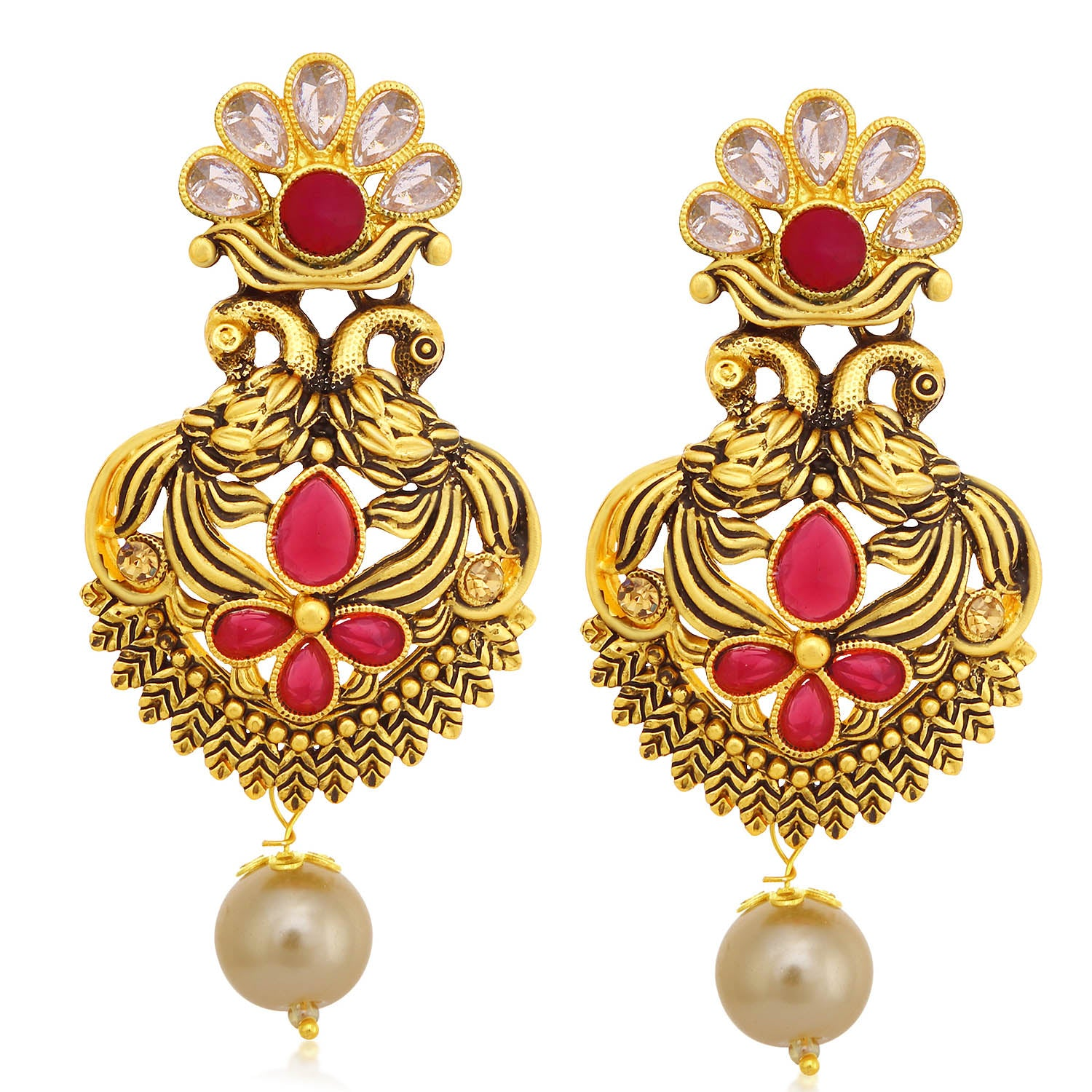 Sukkhi Exotic LCT Stone Gold Plated Pearl Peacock Dangle Earring For Women-SUKKHI1-Earring
