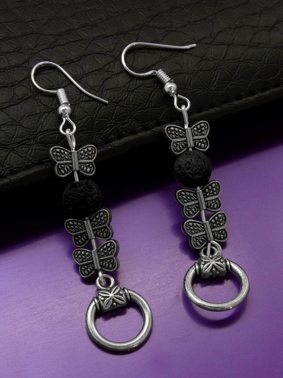 Shana Fashions Silver Plated Butterfly Design Wth Black Color Lava Bead Handmade Drop Earring-SHANA FASHIONS-Earring