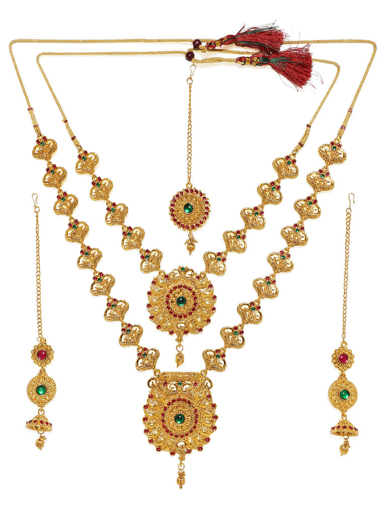 Zaveri Pearls Traditional Gold Plated Bridal Necklace Set-ZAVERI PEARLS1-Jewellery Set
