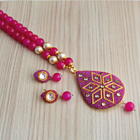 Pink Colour Beads Floral Design With Kundan Meenakari Necklace Set