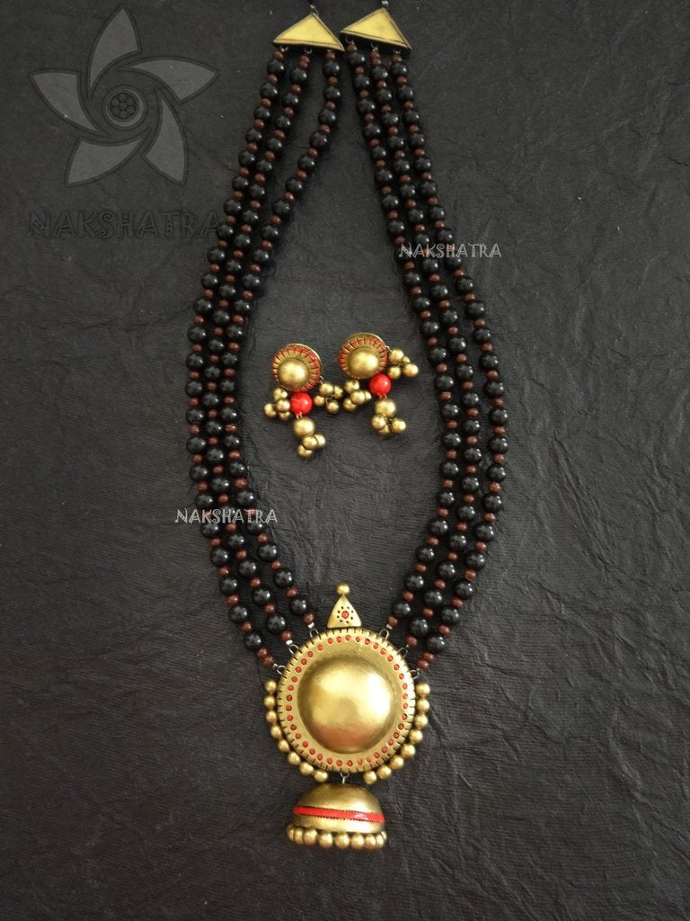 Nakshatra Terracotta 3 Layered With Antique Gold Colour Pendant Necklace Set