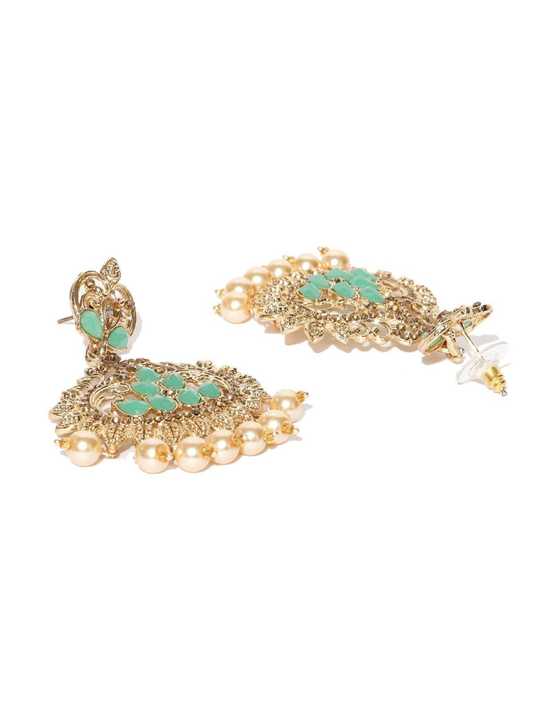 Zaveri Pearls Gold Tone Traditional Dangle And Pearl Drops Earring
