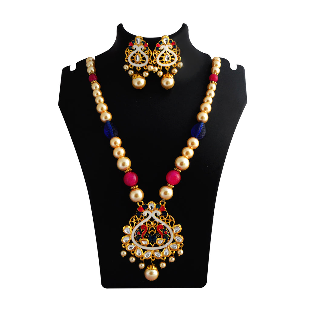 MK Jewellers Pink And Green Color Meenakari Painting With Kundan Stone And Pearl Necklace Set-MK Jewellers-Necklace