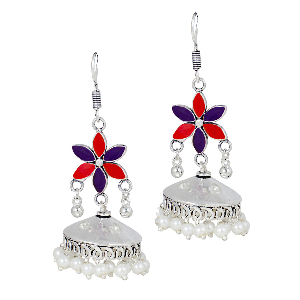 Silver And Purple Colour Designer Oxidized  Hook Jhumka Earring