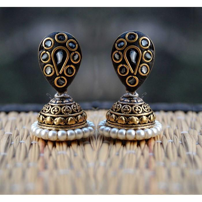 Black White Laakh Jhumki Earring