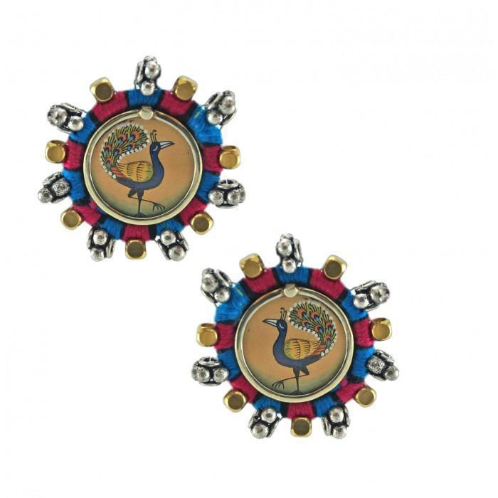 Anetra Blue Pink Artistic Handmade Peacock Stud Earrings