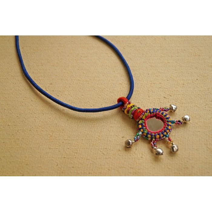 Blue Ghungroon Mirror Pendant Necklace
