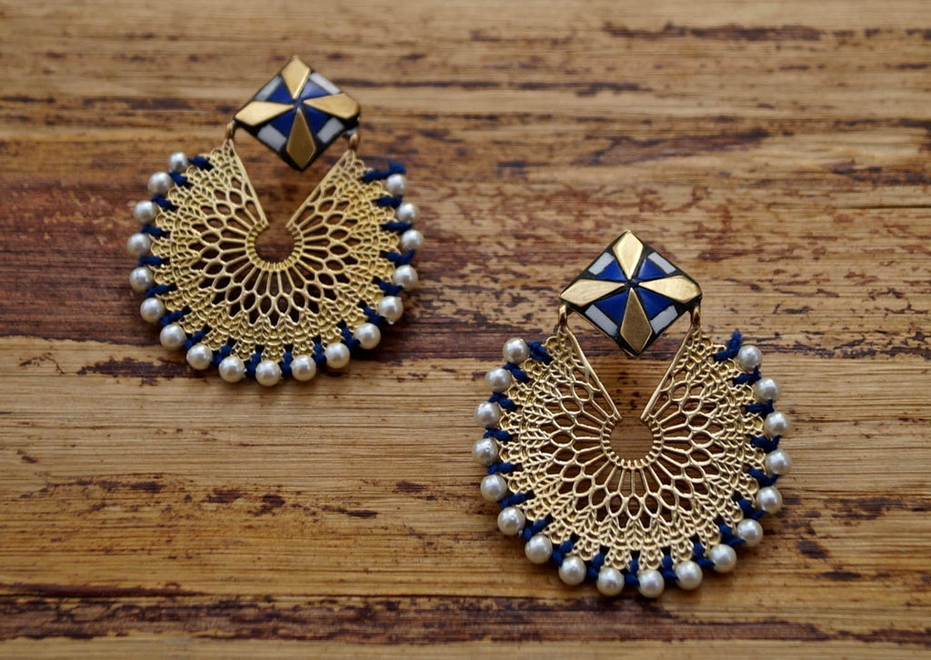 Blue Filigree Pearl Dangler Earring