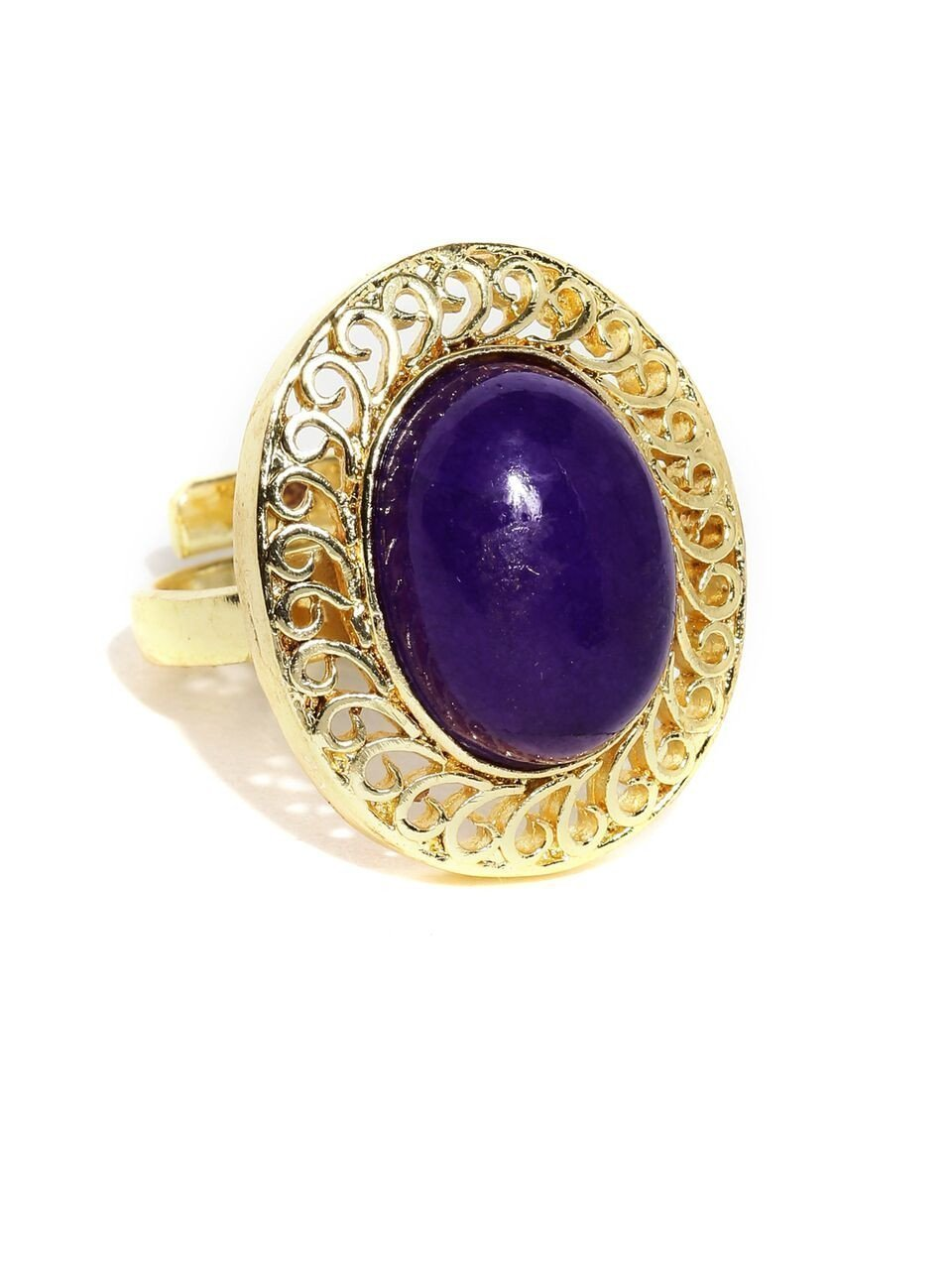 Limited Edition Amethyst Purple Fashionable Finger Ring By Zaveri Pearls