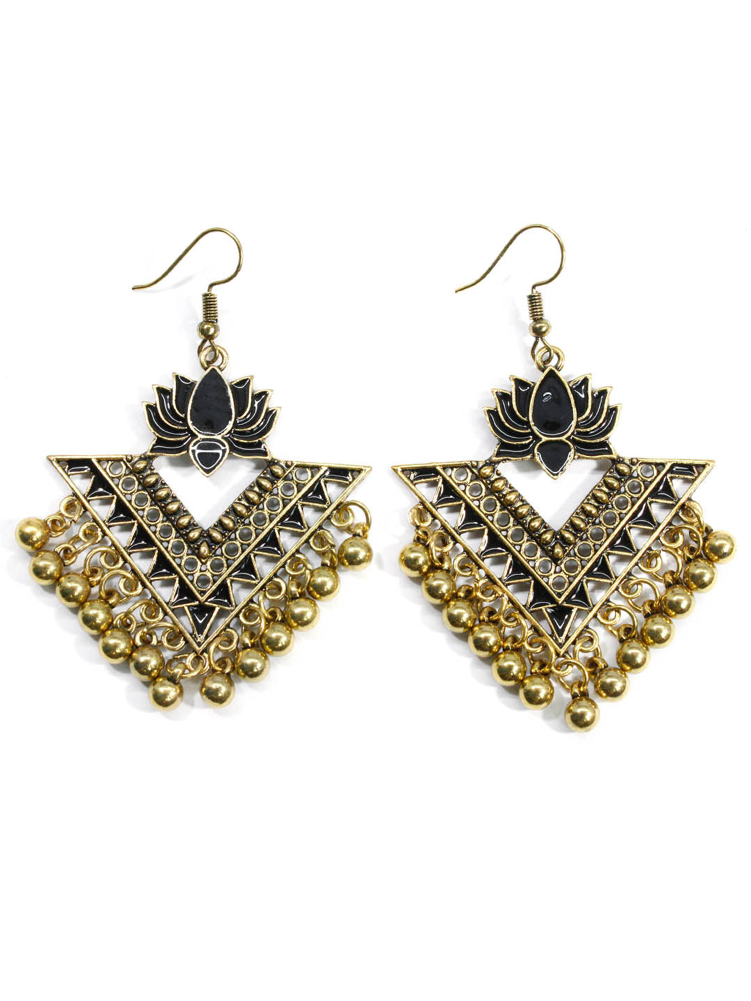 Aana Black Color Lotus Design Gold Plated Dangler Earring