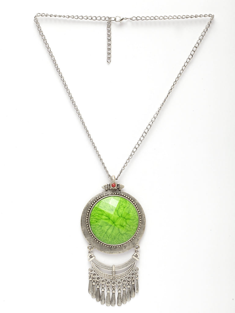 Bold Fashion Necklace With Green Color Pendant-ART MANNIA1-Necklace