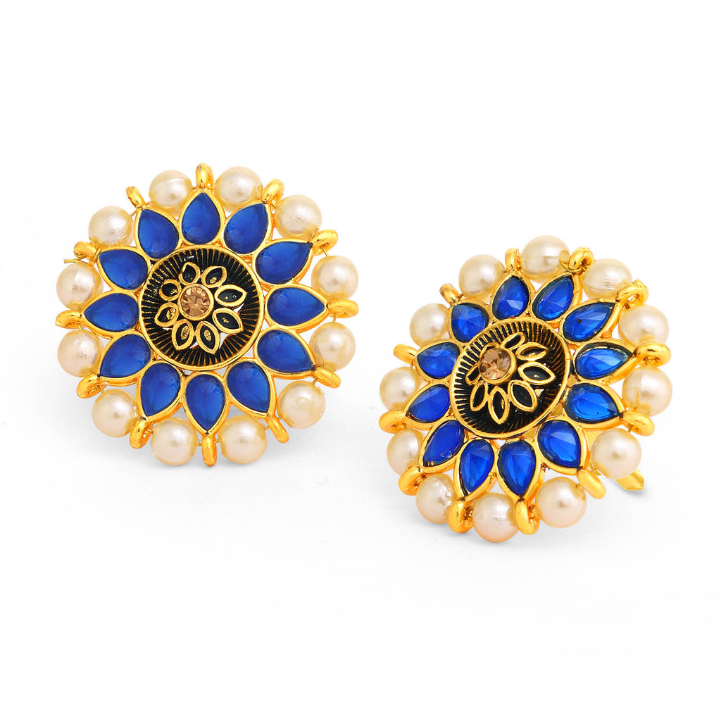 Sukkhi Gleaming Floral Gold Plated Pearl Meenakari Stud Earring For Women-SUKKHI1-Earring