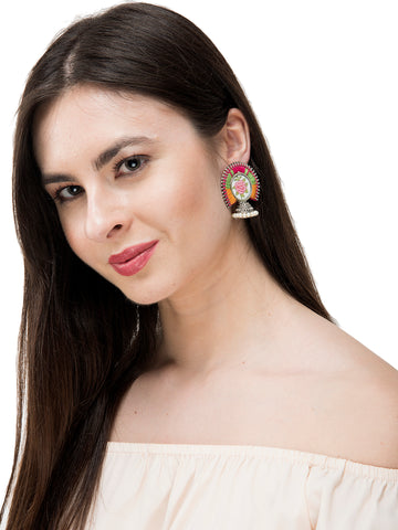 White Rose Design Embroidered Jhumka Earring