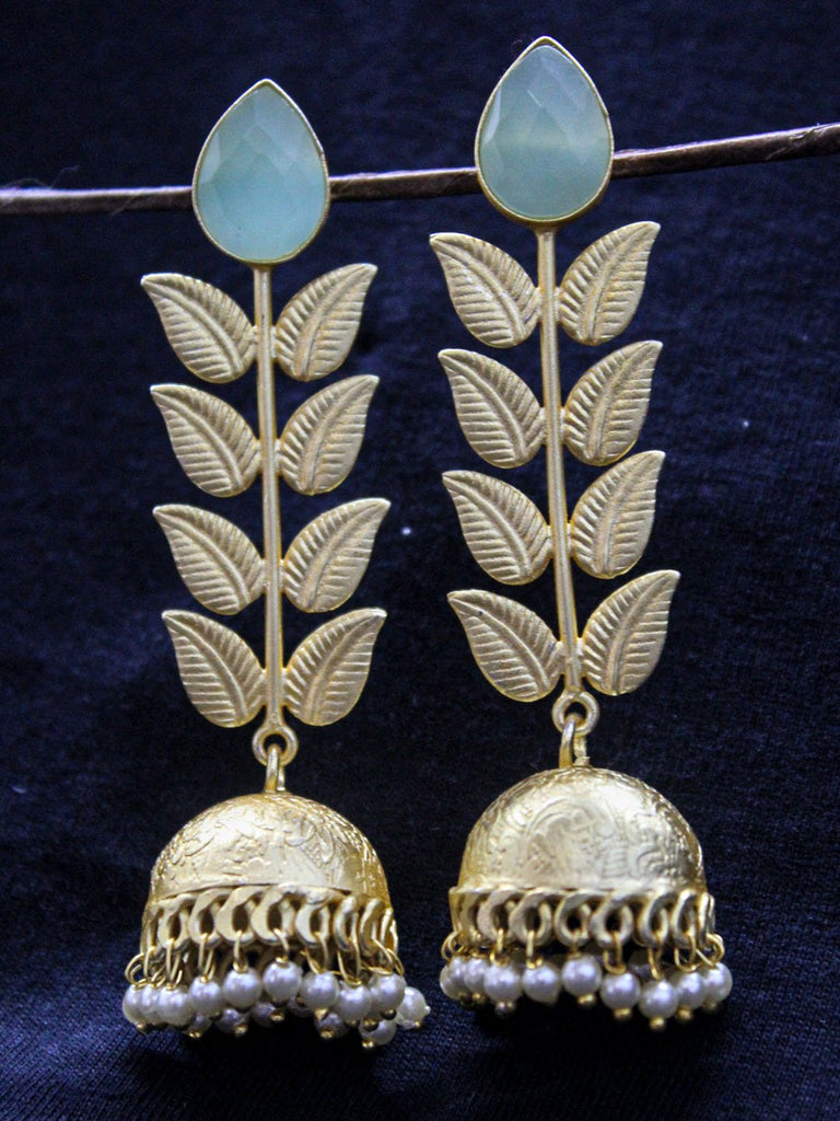 Gold Plated Leaf Design Aqua Color Stone Jhumka with Pearl Drops Earring-JUMKEY-PANAAH1-Earring