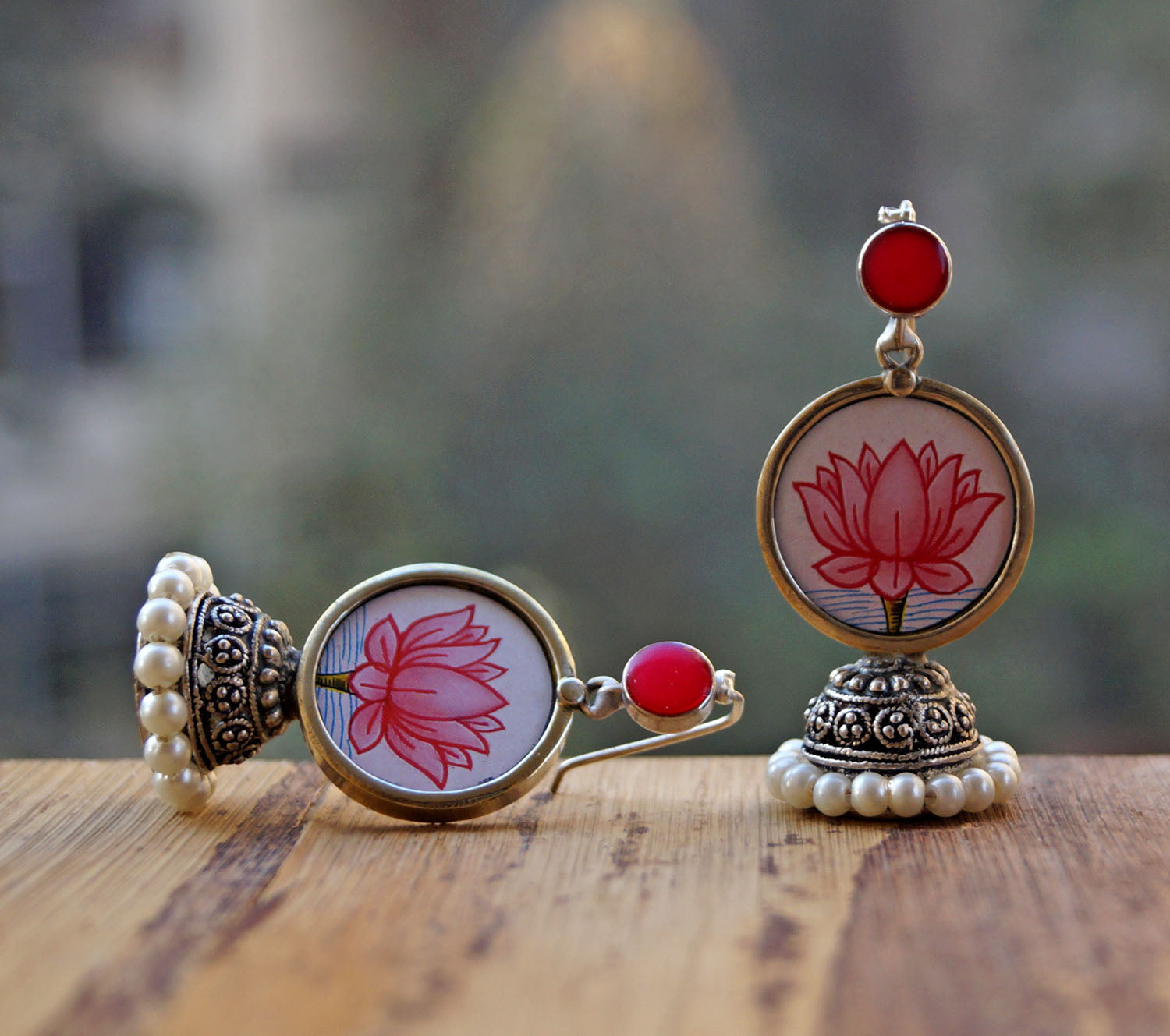 White Colour Lotus Design Jhumka Earring