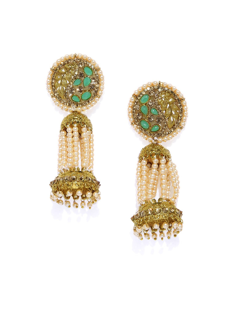 Gold Tone Traditional Pearls Jhumka Earring