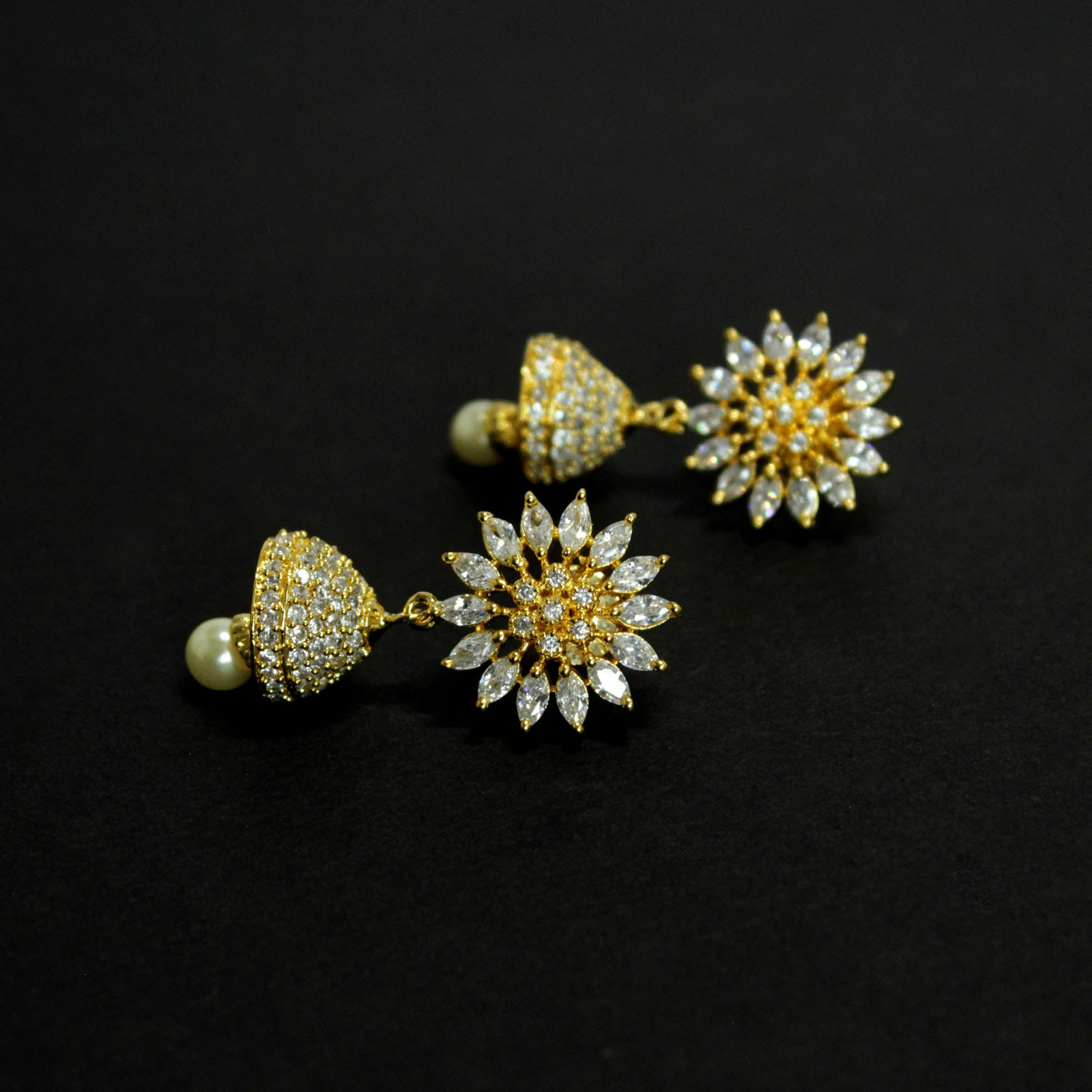 Ruby White Color American Diamond Stones with Pearl dropping Stud Jhumka