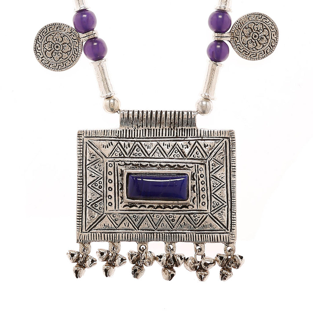 Oxidised Silver Plated Rectangle Shape Statement Pendant Geometric Design With Purple Color Beads Long Coin Necklace By Imli Street-IMLI STREET-Necklace