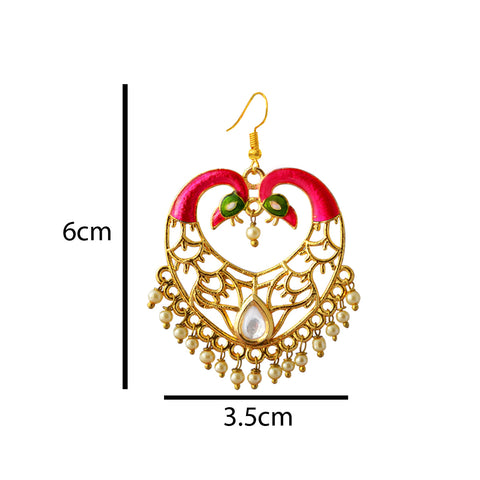 Pink And Green Meenakari Dual Peacock Crown Heart Dangler Earring