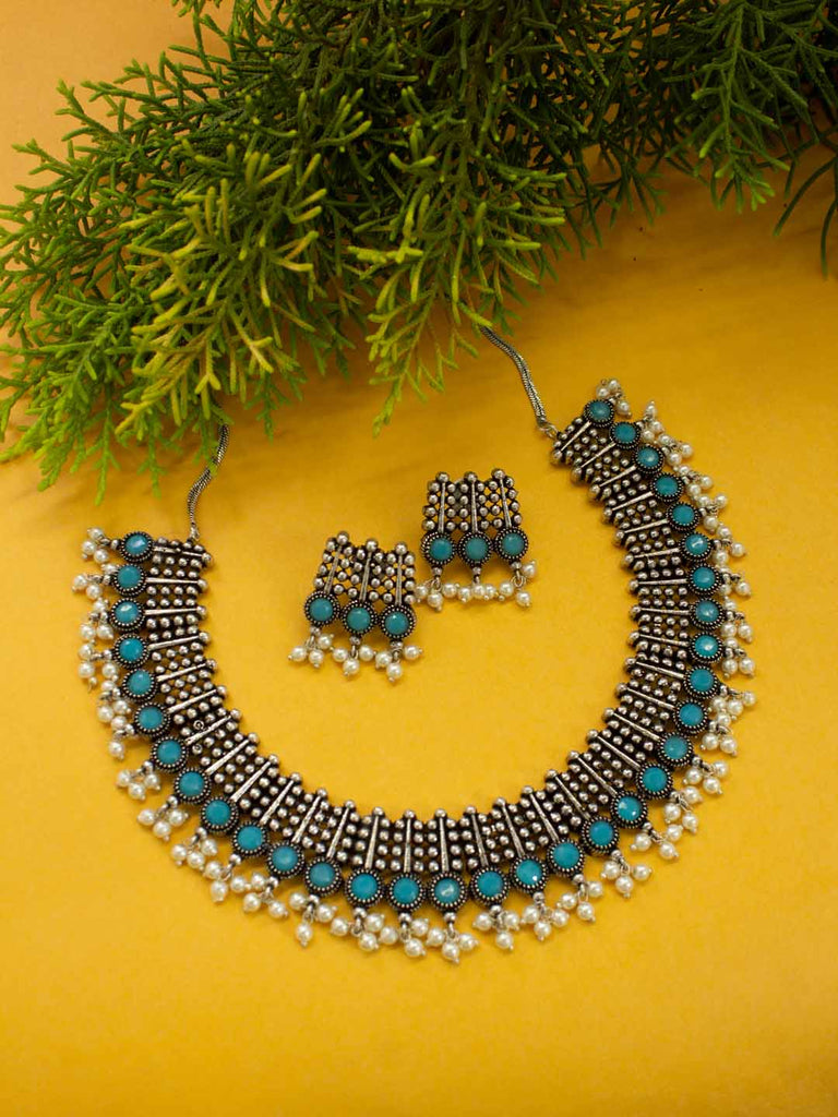 Oxidised Silver Plated Geometric Design With Turquoise Blue Stone Choker Necklace Set-OXIDIZED-Necklace Set