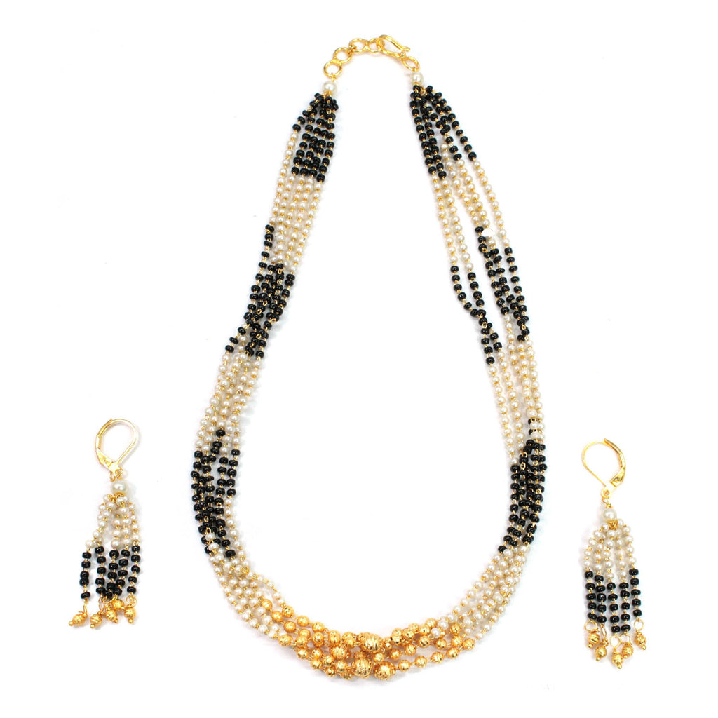 5 Multi Layered Pearls And Mangalsutra Beads Matt Gold Finish Necklace Set